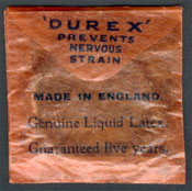Old condom package: 'Durex prevents nervous strain'
